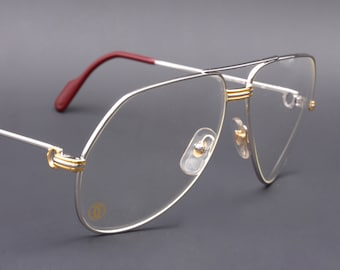 ebfc639fddd1 Cartier Vendome L.C. platine   large size   vintage eyeglasses gold plated    luxury vintage eyewear   made in France in the 80 s
