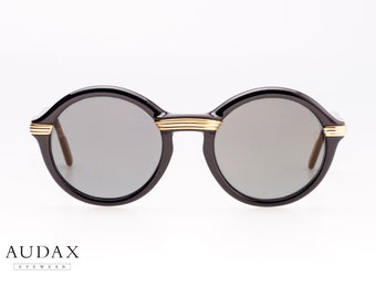 d03c14b52c Cartier Cabriolet vintage sunglasses   black round frames   golden details    luxury sunglasses   made in France