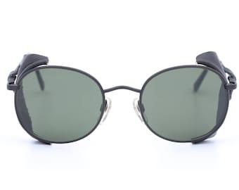 efd8458466 Rare Giorgio Armani 656 vintage sunglasses   round sunglasses   leather wind  guard   aviator shades   side shield   gold frame   steampunk