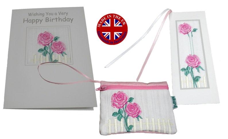 Embroidered Birthday Card Purse Bookmark Set Ekard image 0