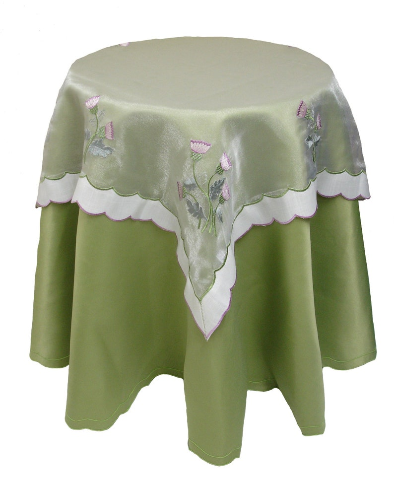Square White /'Linen Look/' Scottish Thistle Bedside Kitchen Hall Dining Conservatory Embroidered Tablecloth TOP CLOTH ONLY