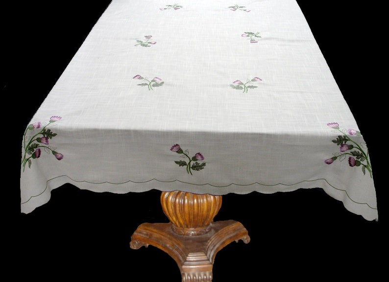Scots Scottish Thistle Embroidered Tablecloth 135cm 180cm Oblong Dining Kitchen Scotch C90