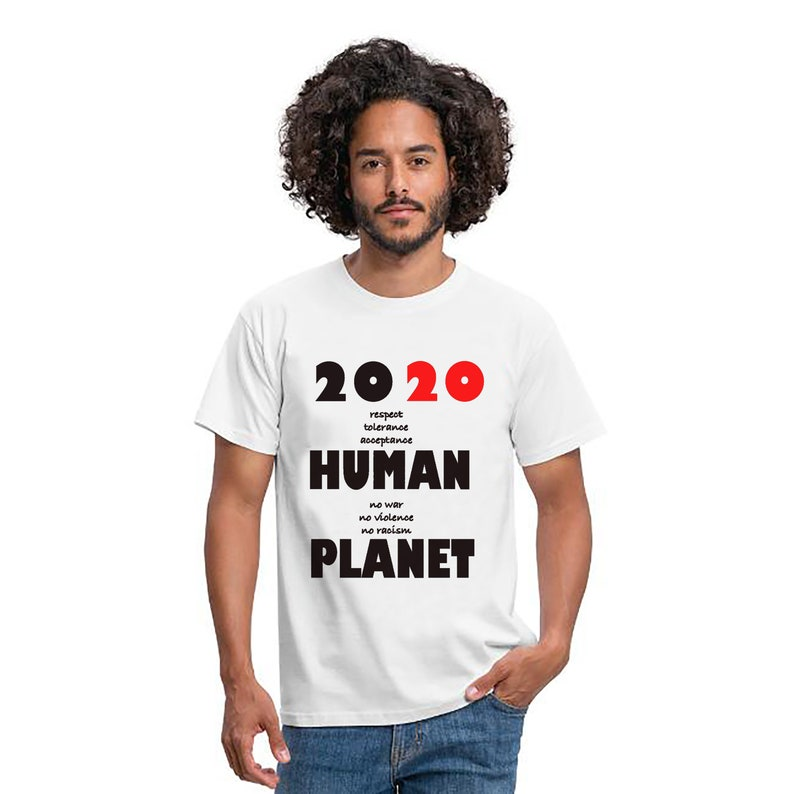 Men Classic T-shirt 2020 HUMAN PLANET Gift New Year 2020 image 0