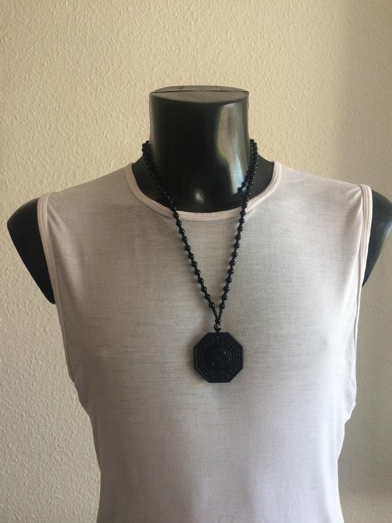 Amulet Obsidian Yin Yang signs Buddha Kwan yoga necklace image 0