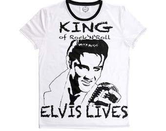 Elvis the King Lives T-Shirt Pop Rock Legend USA Flag Shirt White-Black Handmade Stretch Jersey Fabric Shirt S-7XL