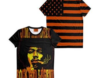 God Rock and Soul Electric Legend Jimi Hendrix Orange- Black T-Shirt USA Flag Handmade Shirt Size: S-7XL