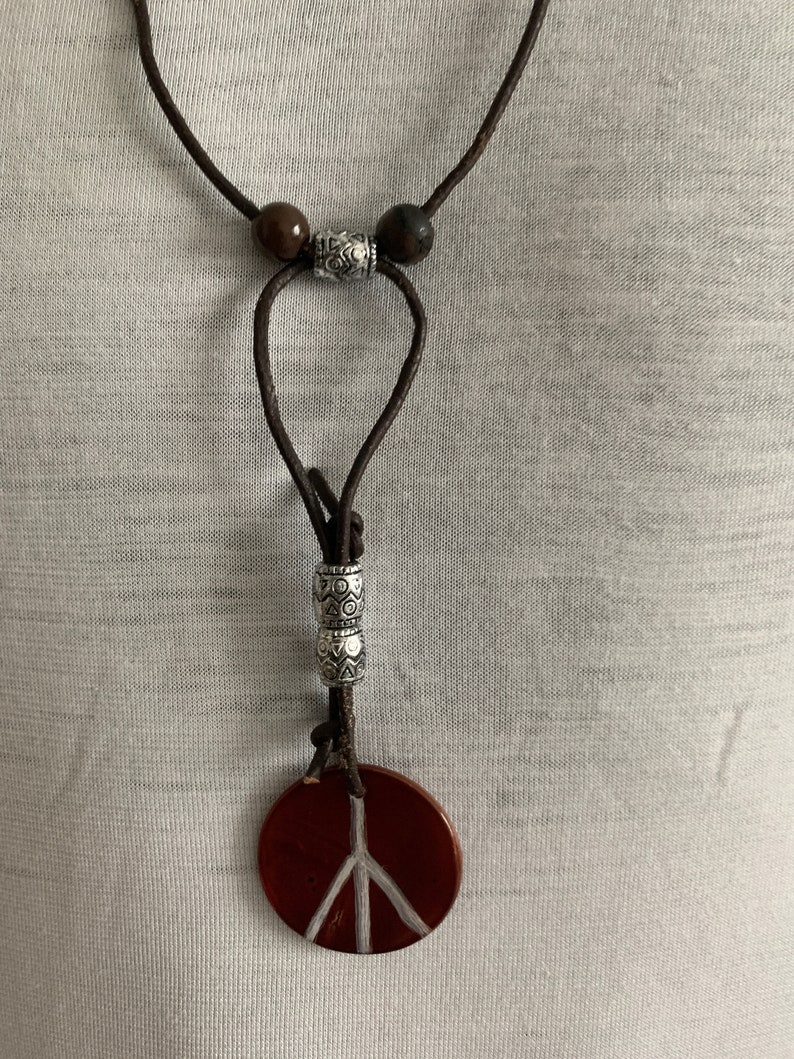 Peace sign amulet hippi sign necklace peace sign leather image 0