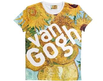 Vincent Van Gogh Legend T-Shirt Handmade Yellow White Blue Flowers Shirt Size S-7XL