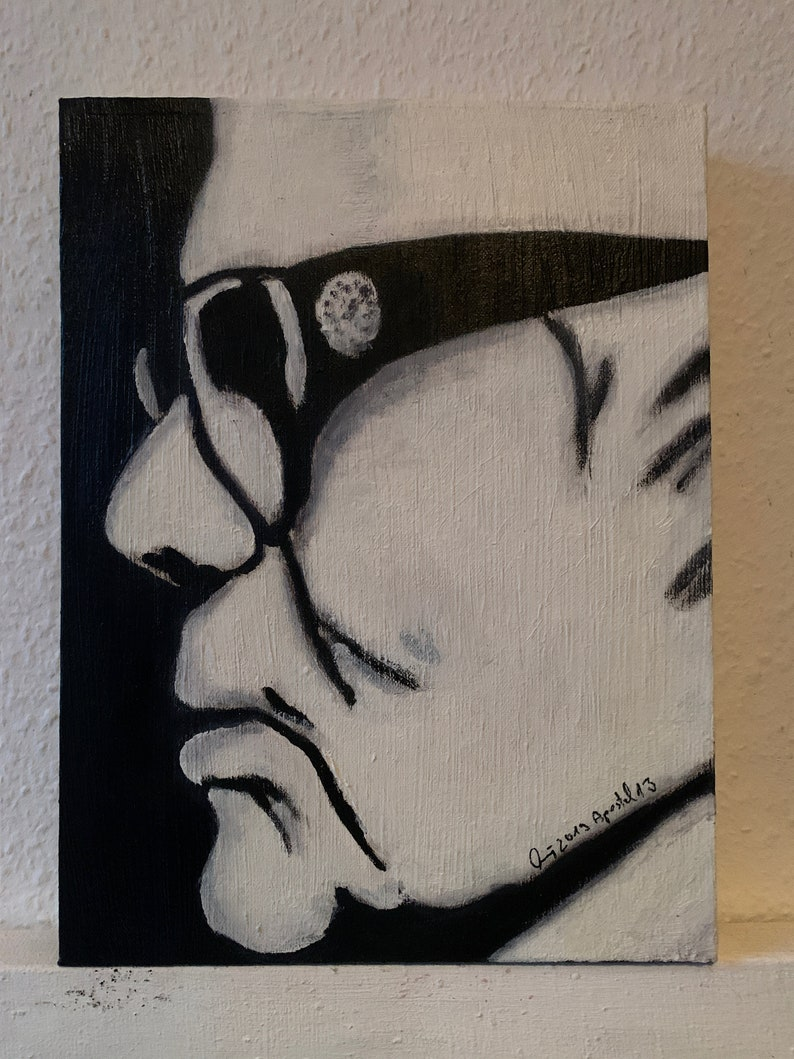 Karl Lagerfeld finished mounted oil painting on 4 cm thick image 0