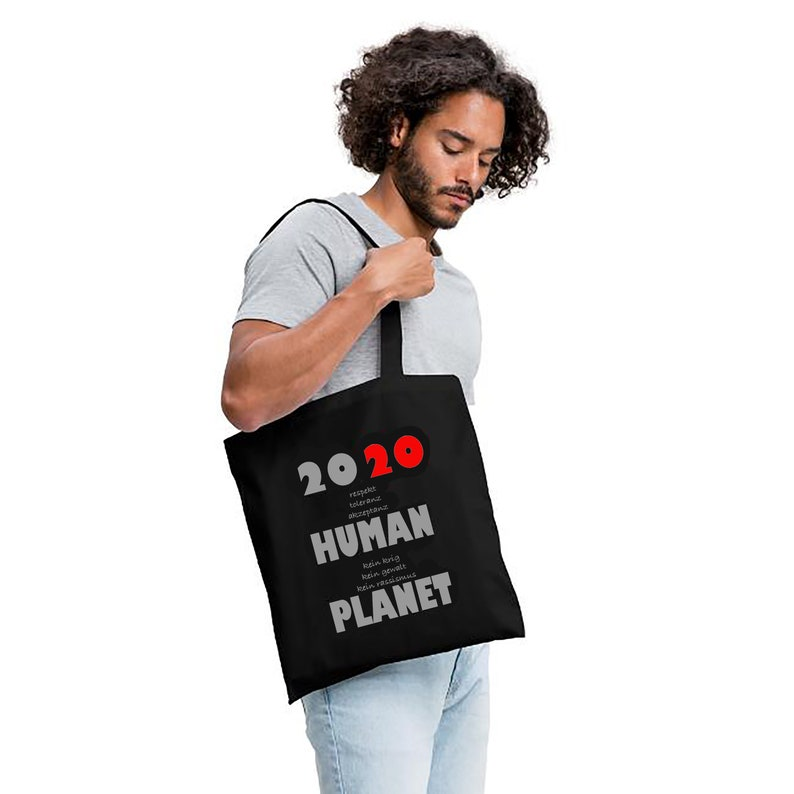 Cotton Bag 2020 HUMAN PLANET Shopping Bag New Year's Eve image 0