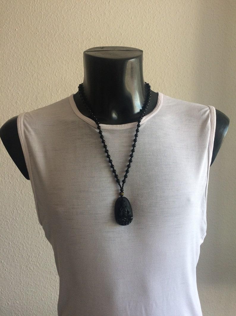 Amulet Obsidian Buddha Kwan yoga necklace black pearls image 0