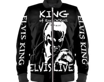 Unisex Satin Bomber Jacket *King of rock 'n' roll Elvis Lives * Rock and Roll Legend Luxurious Black USA Flag Jacket Size: XXS-4XL