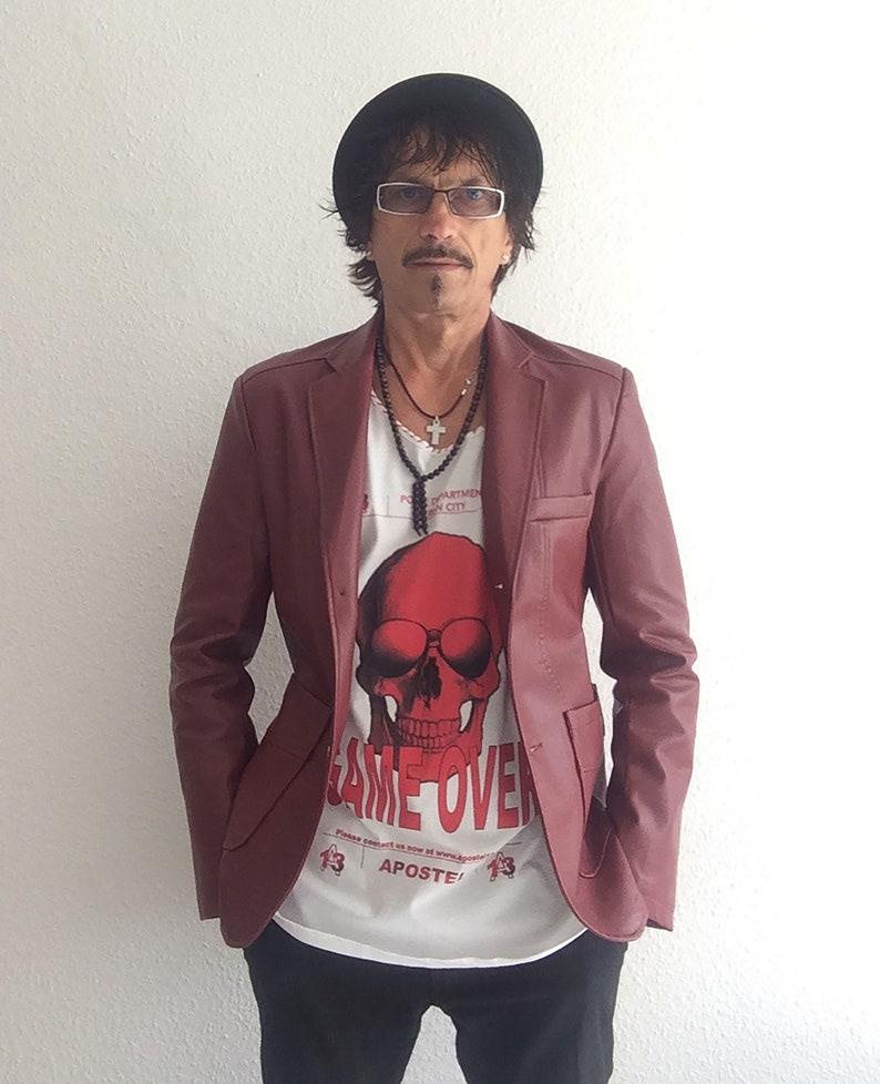 Men's Slim Fit Blazer Suit Jacket Red PVC Leather  Combo image 0