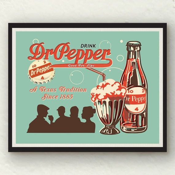 Vintage Dr Pepper Red White Turquoise Wall Art Decor