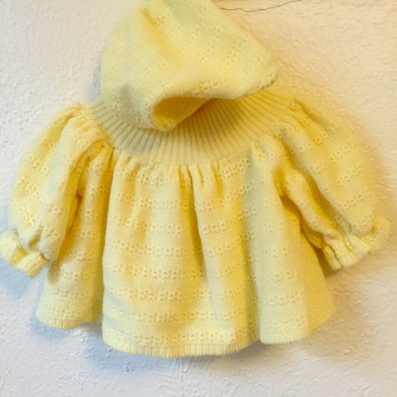 0fc34270c Vintage 1970 s sunshine yellow baby sweater with hood.