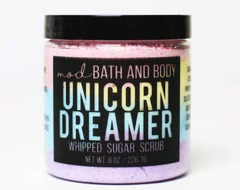Sugar Scrub Unicorn Dreamer | Unicorn Soap Sugar Scrub | Sugar Scrubs | Whipped Sugar Scrub | Exfoliating Sugar Scrub