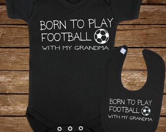 1f41b76c010d6 Baby Vest and Baby Bib Gift Set - Born to play rugby with my grandma