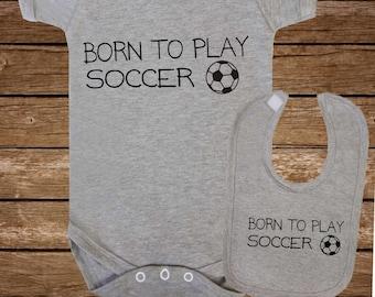 Born To Play Football Snap Baby Bib