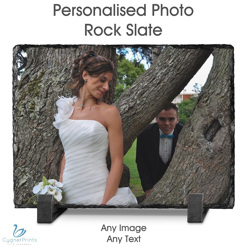 Personalised Rock Slate Custom Images Photo/&Text Birthday Christmas Wedding