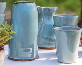 Pitcher and Mugs Set, Pitcher Set, Wine Set, Pottery Pitcher, Pitcher and Glasses, Gift for Couple, Housewarming Gift, Wedding Gift Idea