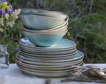Pottery Dinnerware Set for 6 Ceramic Dinnerware Set Pottery Plate Stoneware Dinnerware Handmade 6 Place Settings Wedding Gift Idea & Dinnerware   Etsy