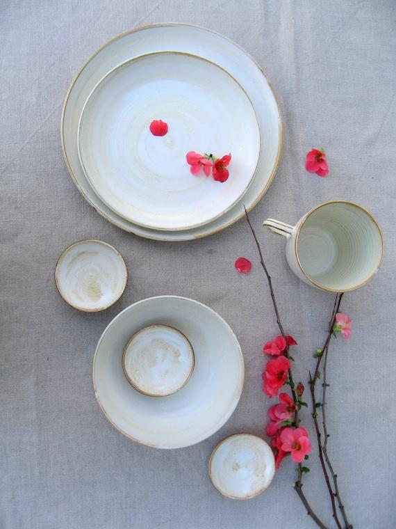 Weiße Geschirrset Steinzeug Geschirr Keramik Geschirr Etsy