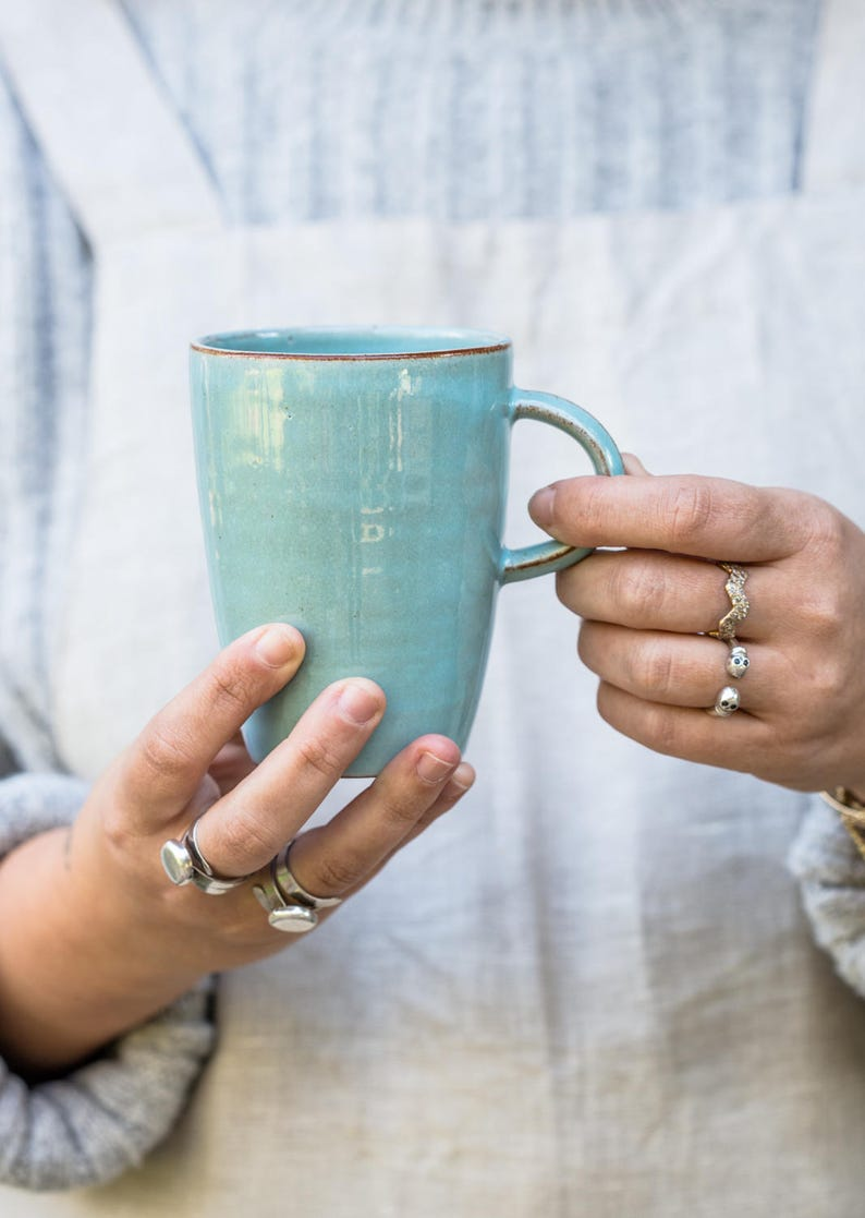 9fa51ad7963 Türkis Keramik-Becher-Set Keramik Becher Set groß Kaffee | Etsy