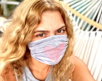MASK GIFT set of 2 hand-stamped reusable, most comfortable, made in USA face covering
