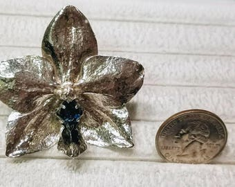 Real Sterling silver cast Orchid Pendant
