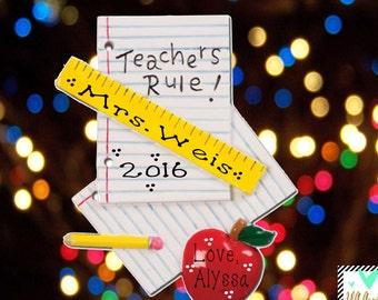 Teacher Ornament - Teacher Gift - Teacher's First Year - School Ornament - Personalized Teacher Christmas Ornament - Best Teacher Ever