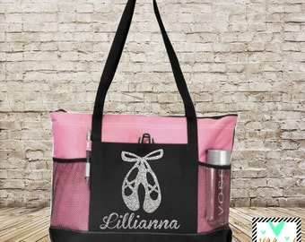 Dance Bag - Dance Tote - Ballet Bag - Personalized Glitter Print Dance Bag - Ballet Bag - Dance Shoe Bag - Danzations