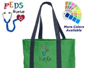 Personalized Pediatric Nurse Tote Bag Embroidered Monogrammed with Name of Your Choice Perfect Nurse Gift