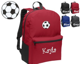 c16132ee7e Personalized Kids Backpack Embroidered Soccer Ball Monogrammed with Name of  Your Choice Perfect Kids School Gift