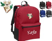Personalized Kids Backpack Embroidered Koala Bear Monogrammed with Name of Your Choice Perfect Kids School Gift