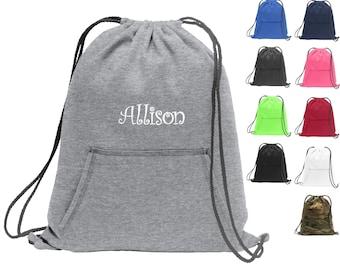Personalized Cinch Pack, Sweatshirt Fleece, Drawstring Gym School PE Pool Backpack, Embroidered Monogrammed Custom Name, Kids School Gift