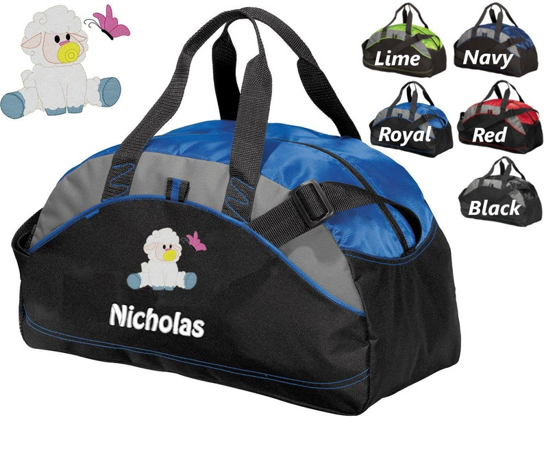 Toddler Infant Bag Athletic Diaper Bag Embroidered Baby Lamb Monogrammed Name Shower Gift Personalized Diaper Bag for Dad Baby Bag