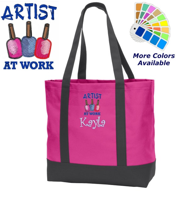 Personalized Tote Bag Embroidered Nail Artist at Work Monogrammed with Name