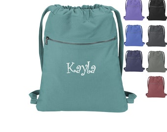Personalized Beach Wash Cinch Pack, Drawstring Gym School PE Pool Backpack, Embroidered, Monogrammed Custom Name, Mom Gift, Bridesmaid Gift