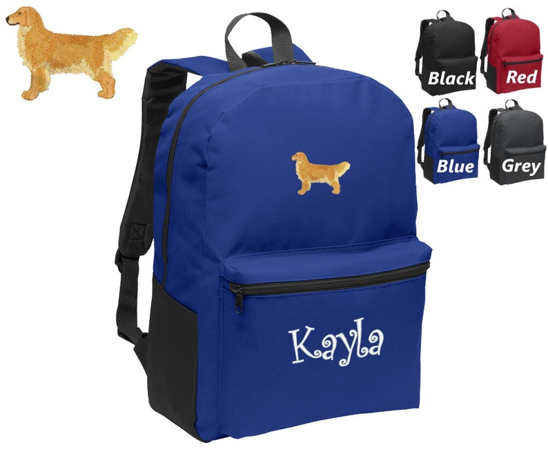 Personalized Kids Backpack Embroidered Golden Retriever Dog Monogrammed with Name of Your Choice Perfect Kids School Gift