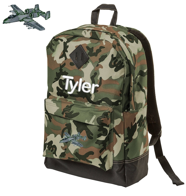 Personalized Camouflage Kids Backpack Embroidered A10 Warthog Monogrammed with Custom Name of Your Choice Perfect Kids School Gift