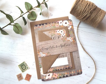 Rustic Floral Forest Wedding Invitation with matching RSVP - SAMPLE
