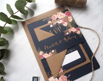 Navy Floral Bloom Wedding Invitation with matching RSVP - Sample