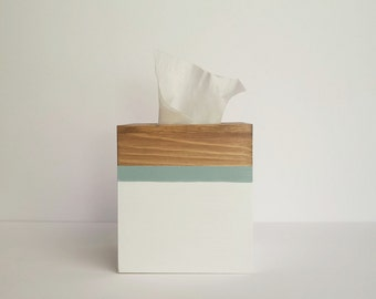 Tissue box cover, Tissue box holder, Square tissue box holder, Wooden Tissue box, Coastal tissue box, White and blue decor, office decor