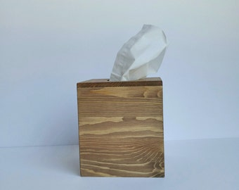 Tissue box cover, Stained tissue box, Wooden Tissue Cover, Natural Tissue Box, Stain Kleenex box cover,Office decor, Bathroom decor, Wood