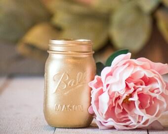 Baby Shower Gold Mason Jar Wedding Greenery Glitter Centerpiece Vase Home Decor Modern