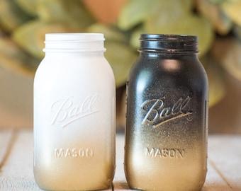 Gold Glitter Centerpiece Mason Jar Wedding Party Vase White and Black Rustic Farmhouse Decor Painted