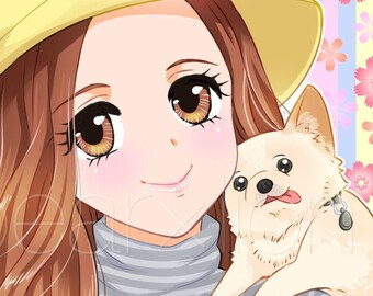 Custom Digital Manga Portraits in Cute Japanese Anime Manga Style