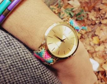 Ladies Watch - Gold Dial - friendship bracelet - gold chain - jewelry - colorful bracelet - tassel - summer - gift - Valentine's day