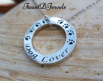 FREE shipping Sterling Silver 'Dog Lover' Pendant and chain available