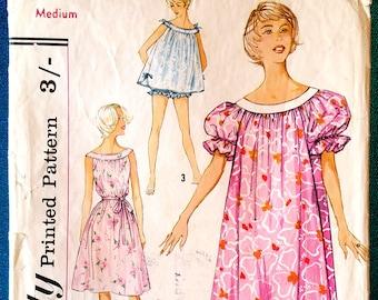 "Vintage 1950's muu muu nightgown panties sewing pattern - Simplicity 2566 - size Medium 14 - 16 (34"" - 36"" bust, 36"" - 38"" hip) - 1958"